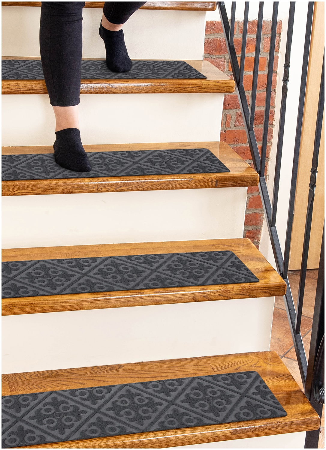 Carpet Stair Treads Non Slip Gray Embossed 8 X30 15 Pack Runners For Wooden Steps Finehous